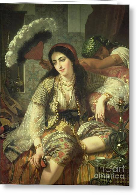 Harem Paintings Greeting Cards - Odalisque Greeting Card by Jean Baptiste Ange Tissier