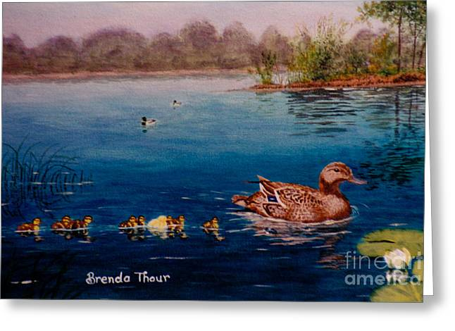 Baby Mallards Paintings Greeting Cards - Odd Duck Out Greeting Card by Brenda Thour