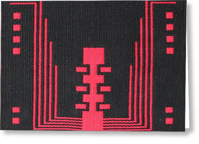 Southwest Tapestries - Textiles Greeting Cards - Ode to EJ Kahn in Black Greeting Card by Judy Hilbish