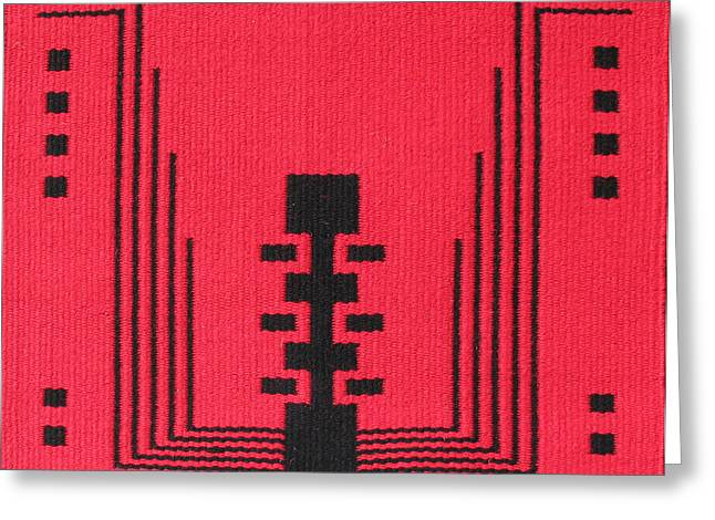 Southwest Tapestries - Textiles Greeting Cards - Ode to EJ Kahn in Red Greeting Card by Judy Hilbish