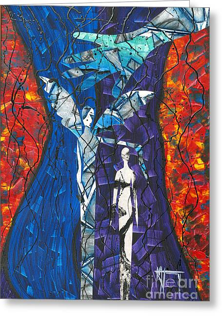 Mccoy Mixed Media Greeting Cards - Ode To the Protector Greeting Card by Nickola McCoy-Snell