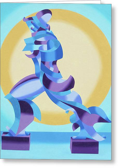 Daily Painter Greeting Cards - Ode to Umberto Boccioni Greeting Card by Mark Webster