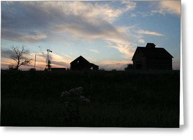 Illinois Barns Greeting Cards - Odell Dusk Greeting Card by Dylan Punke