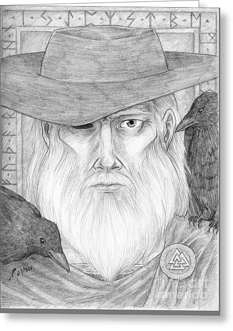 Thor Drawings Greeting Cards - Odin Greeting Card by Brandy Woods