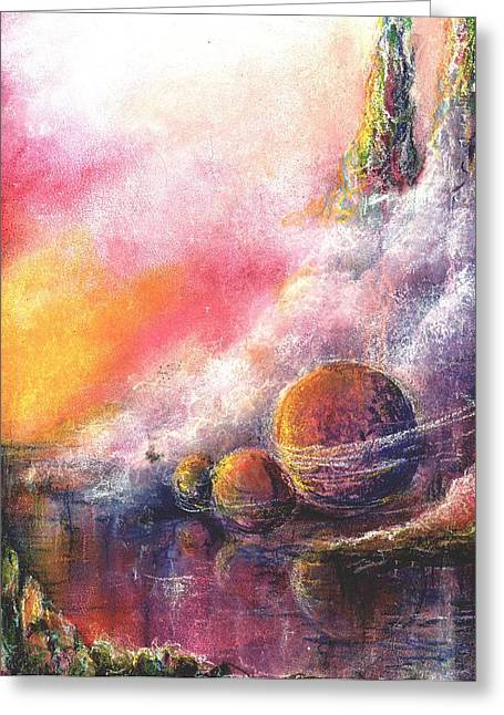Outer Space Pastels Greeting Cards - Odyessy Greeting Card by Melody Horton Karandjeff