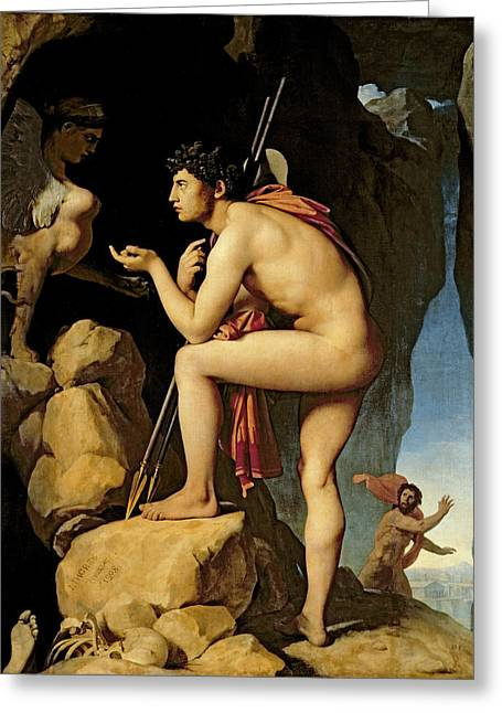 Solving Greeting Cards - Oedipus and the Sphinx Greeting Card by Jean Auguste Dominique Ingres
