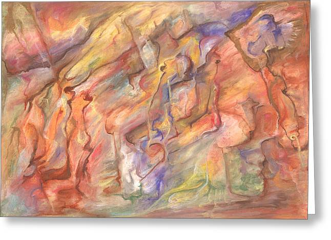 Abstract Expressionist Greeting Cards - Of Ancient Days Greeting Card by Tom Kecskemeti