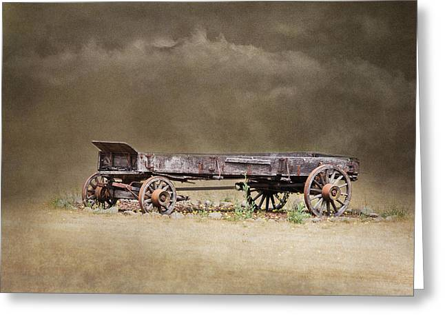 Wooden Wagons Photographs Greeting Cards - Of Another Time Greeting Card by Angie Vogel