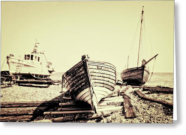 Old Boat Greeting Cards - Of Different Eras Greeting Card by Meirion Matthias