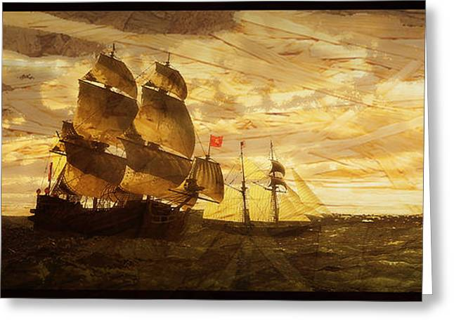 Pirate Ships Greeting Cards - Of the Vintage Greeting Card by Arthur Wise