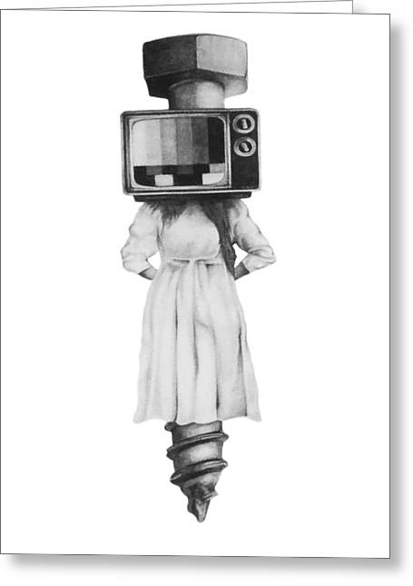 Old Tv Drawings Greeting Cards - Off Air Greeting Card by Phil Spaulding