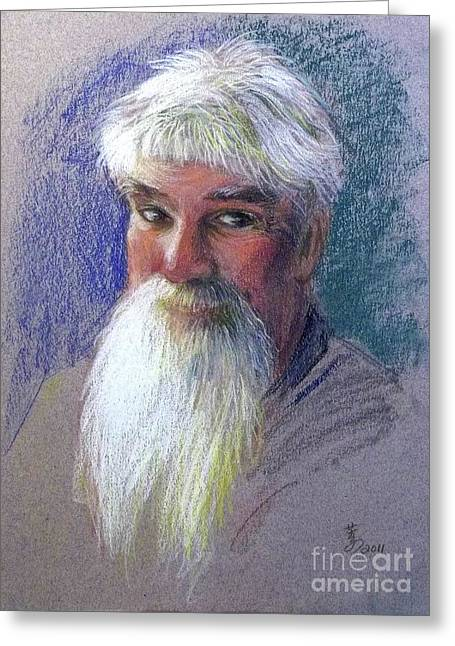 White Beard Pastels Greeting Cards - Off Duty Santa Claus Again Greeting Card by Yoshiko Mishina