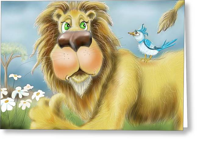Lion Illustrations Greeting Cards - Off my Back Greeting Card by Hank Nunes