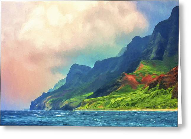 Lahaina Greeting Cards - Off the Na Pali Coast of Kauai Greeting Card by Dominic Piperata