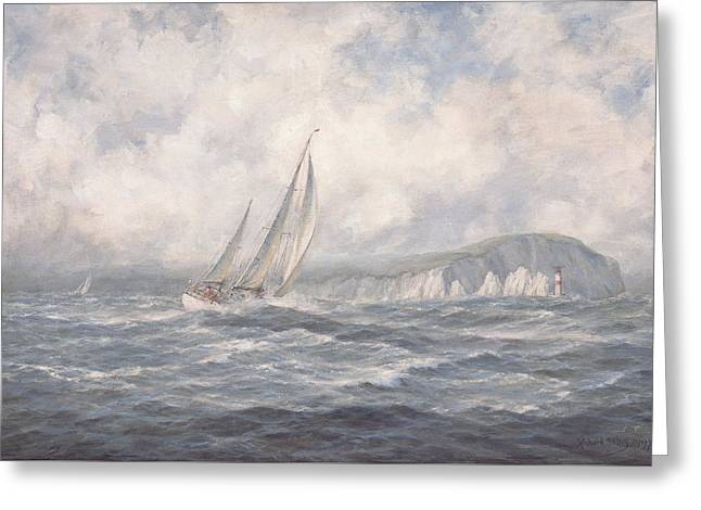 Sailing Ship Greeting Cards - Off the Needles  Isle of Wight Greeting Card by Richard Willis