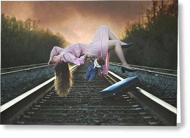Floating Girl Greeting Cards - Off the Rails Greeting Card by Keith Clontz