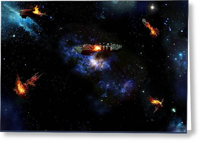 Off The Shoulder Of Orion Greeting Card by Joseph Soiza
