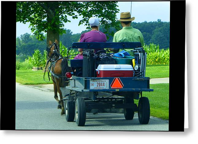 Amish Community Greeting Cards - Off To A Picnic Greeting Card by Tina M Wenger