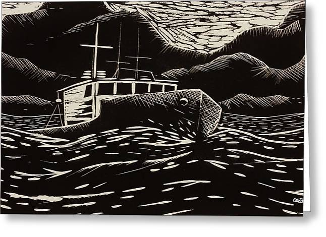 Printmaking Greeting Cards - Off to Fish Greeting Card by Catlin Perry