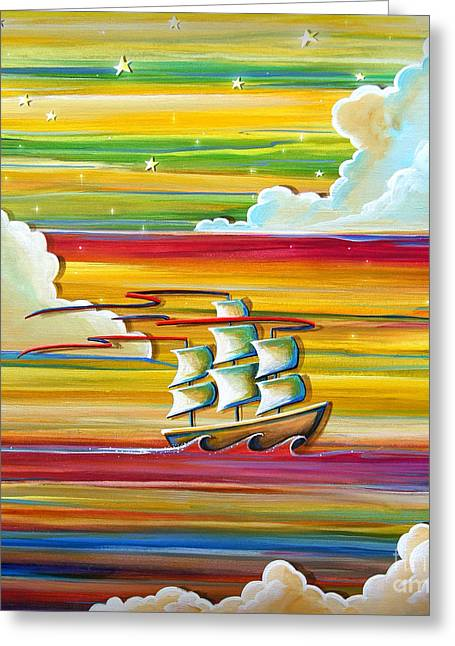 Pirate Ships Paintings Greeting Cards - Off To Neverland Greeting Card by Cindy Thornton