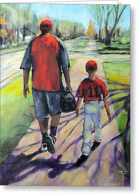 Softball Paintings Greeting Cards - Off to the Game Greeting Card by Jodie Marie Anne Richardson Traugott          aka jm-ART