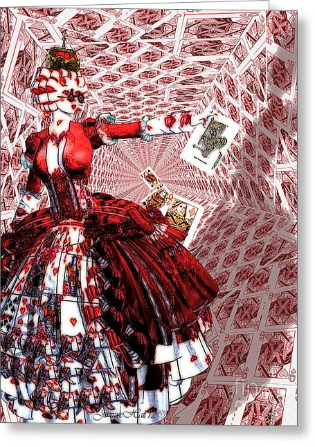 Playing Cards Mixed Media Greeting Cards - Off with their Heads Greeting Card by Rosy Hall