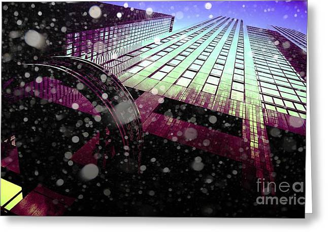 Glass Reflecting Greeting Cards - Office Building With Snow Falling Greeting Card by M and L Creations