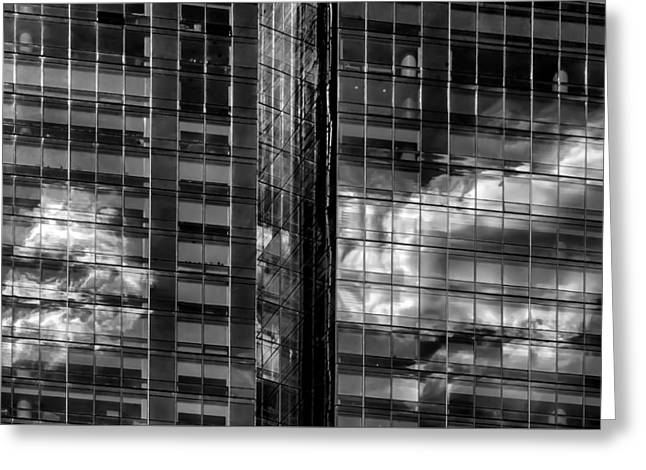 Glass Reflecting Greeting Cards - Office Buildings and Reflected Clouds Greeting Card by Robert Ullmann