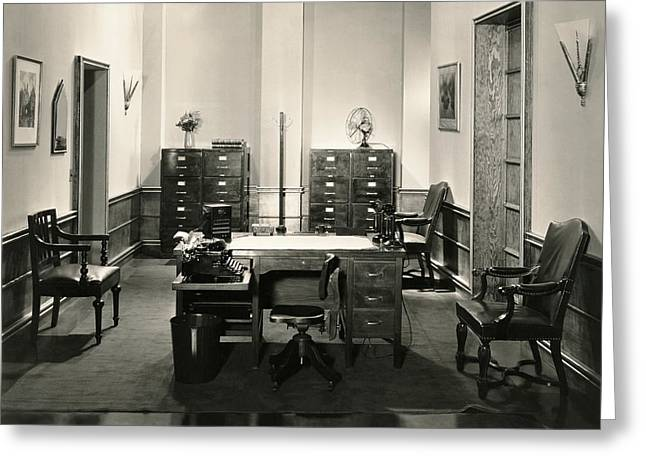 Empty Drawers Greeting Cards - Office Interior Greeting Card by Underwood Archives