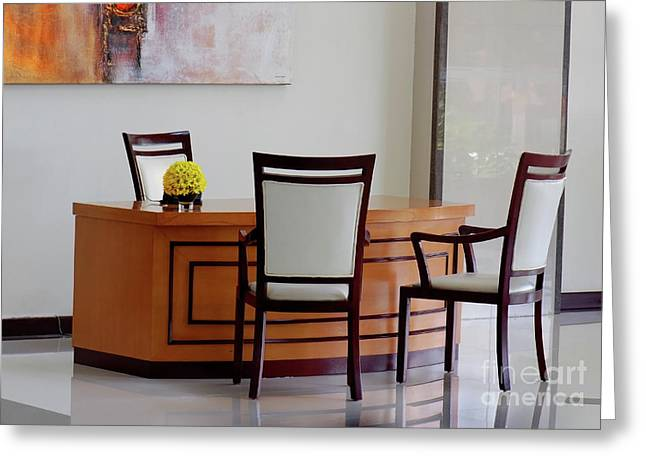 Glass Table Reflection Greeting Cards - Office Set Up Greeting Card by Charuhas Images
