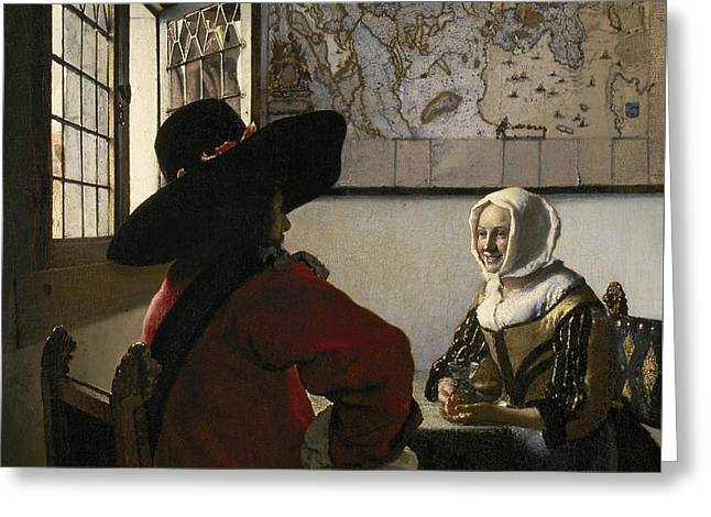 Officer And Laughing Girl Greeting Card by Jan Vermeer