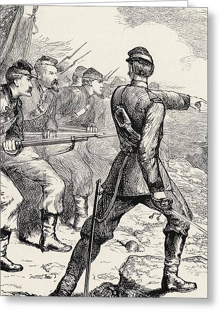 Log Cabins Greeting Cards - Officer Leading Attack In American Greeting Card by Ken Welsh