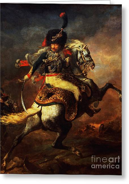 Officers Greeting Cards - Officer of the Hussars Greeting Card by Theodore Gericault