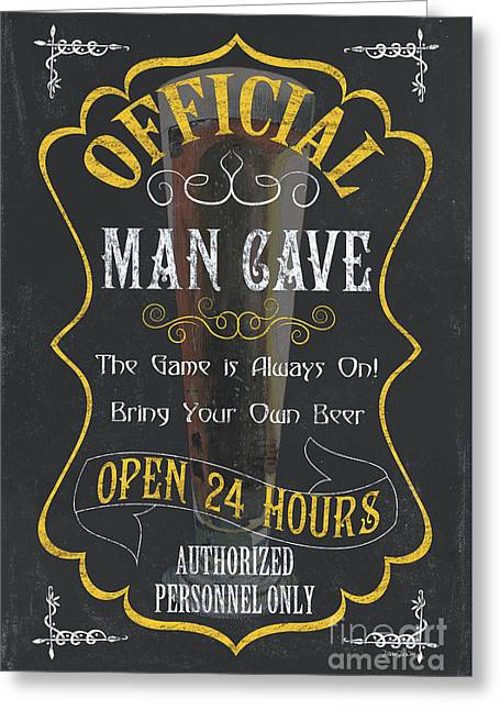 Liquid Gold Greeting Cards - Official Man Cave Greeting Card by Debbie DeWitt
