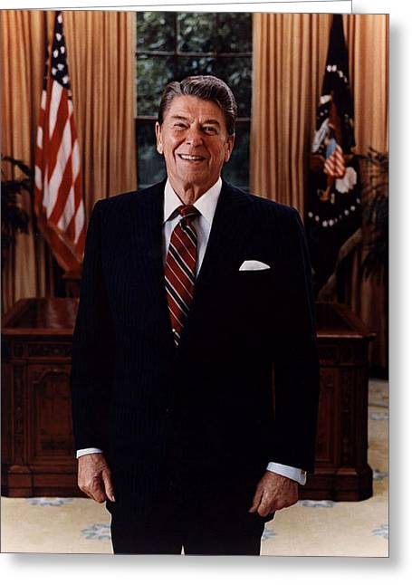 Oval Office Greeting Cards - Official Portrait Of President Ronald Reagan 1985 Greeting Card by Office Of The President