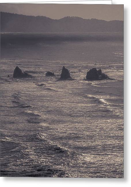 Ocean Vista Greeting Cards - Offshore rocks viewed from Cape Meares 3 - ST Greeting Card by John Trax