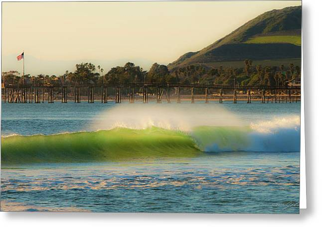 Offshore Wind Wave And Ventura, Ca Pier Greeting Card by John A Rodriguez