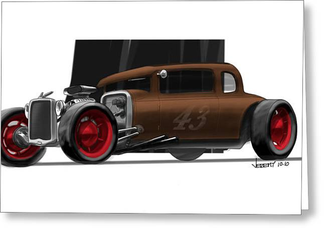 Digital Drawings Greeting Cards - OG Hot Rod Greeting Card by Jeremy Lacy