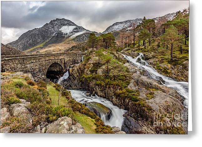 Ogwen Bridge Winter Greeting Card by Adrian Evans