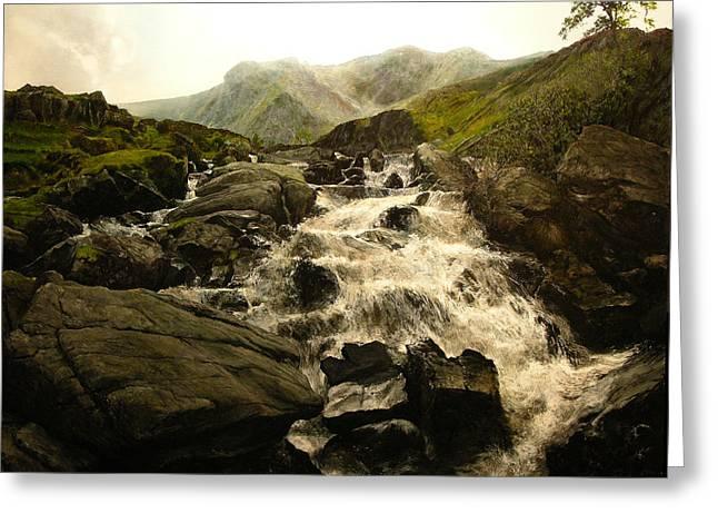 Ogwen Falls Greeting Card by Harry Robertson