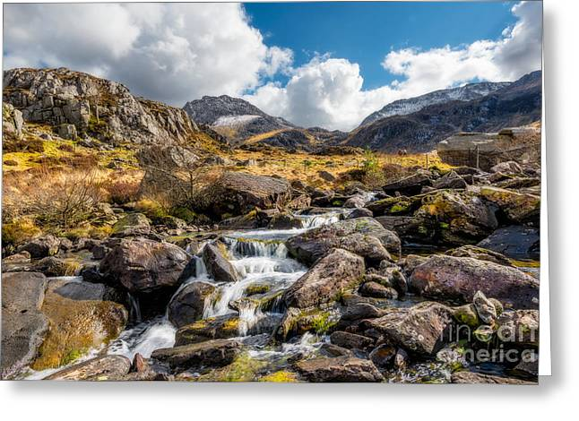 River. Clouds Greeting Cards - Ogwen Valley Rapids Greeting Card by Adrian Evans