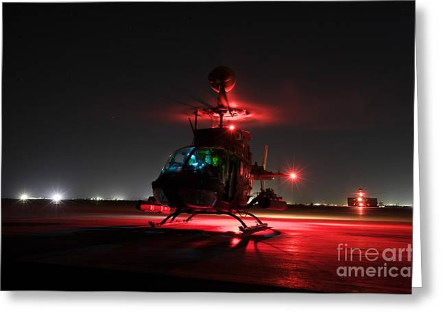 Rotorcraft Photographs Greeting Cards - Oh-58d Kiowa Pilots Run Greeting Card by Terry Moore
