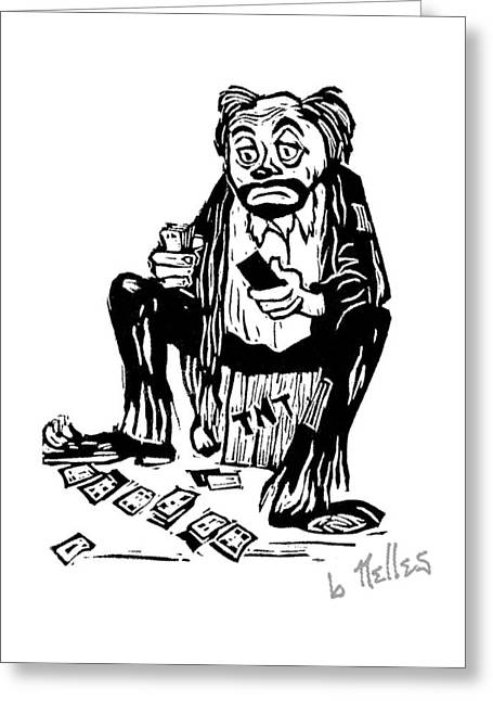 Emmett Kelly Greeting Cards - Oh Blast Greeting Card by Barry Nelles Art