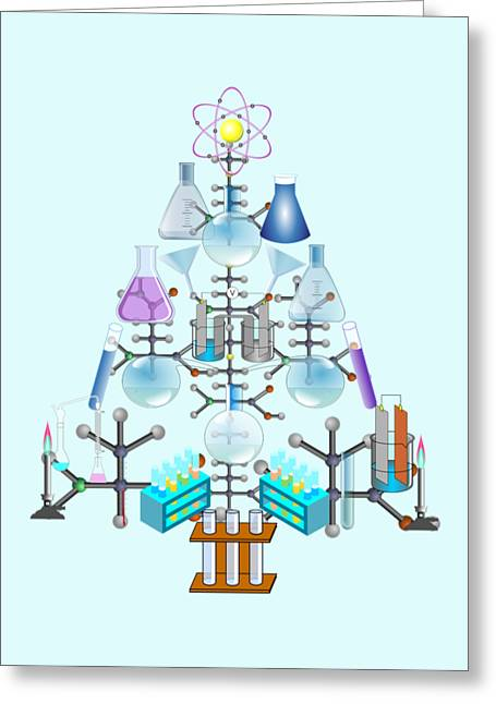 National Mixed Media Greeting Cards - Oh Chemist Tree - Oh Christmas Tree  Greeting Card by Gravityx9 Designs