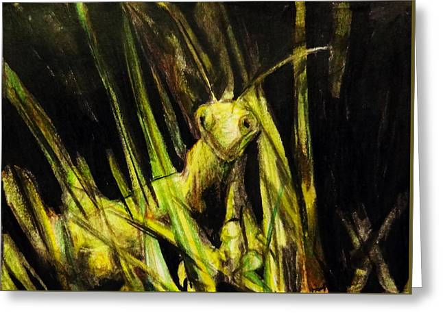 Nature Study Greeting Cards - Oh Mantis Dearest Greeting Card by Shirosaki Black