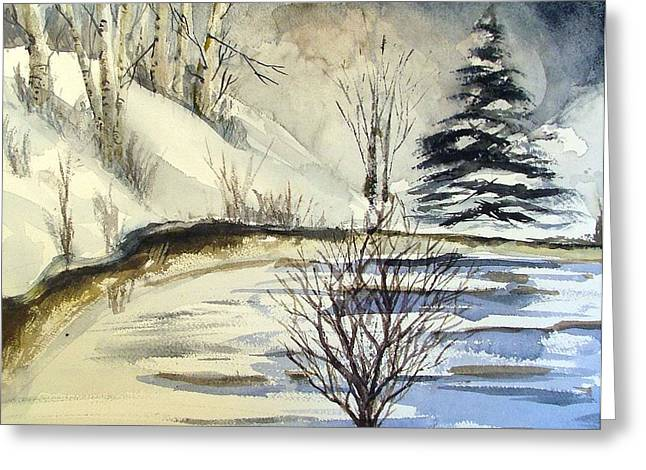 Winter Trees Drawings Greeting Cards - Oh Night Divine Greeting Card by Mindy Newman