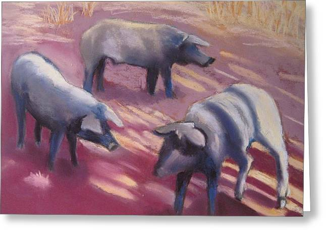 Pigs Pastels Greeting Cards - Oh Pigs Greeting Card by Constance Gehring
