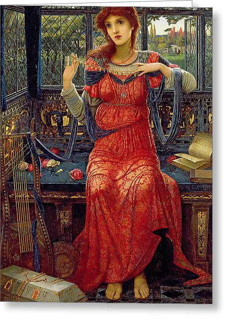 Oh Swallow Swallow Greeting Card by John Melhuish Strudwick