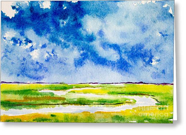 Marsh Scene Greeting Cards - Oh Those Blue Skies Greeting Card by Alexandra Nicole Newton