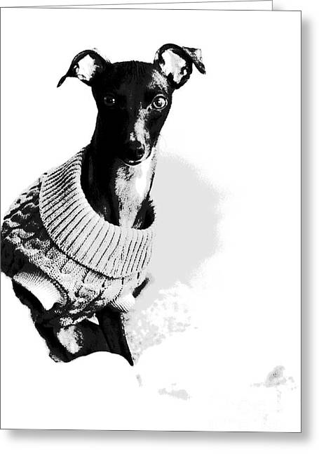 Oh Those Eyes Black And White 2 Greeting Card by Angela Rath